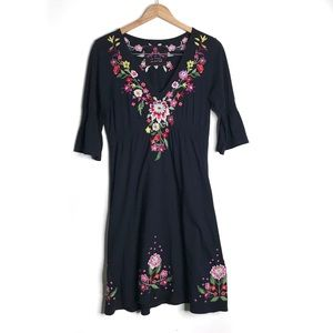 Johnny Was Floral Embroidered Black Cotton Dress M